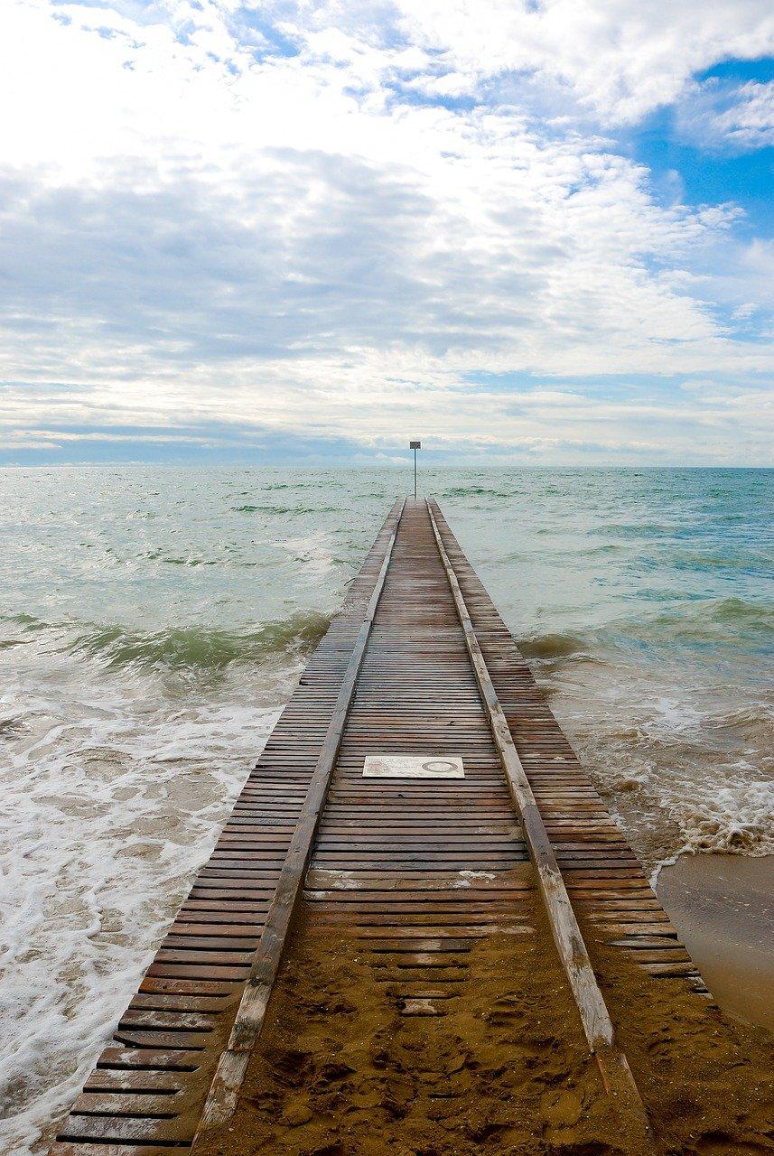 breakwater, wooden, in the sea