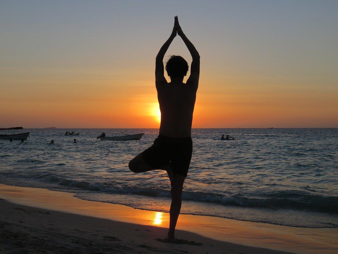 yoga, beach, sunset